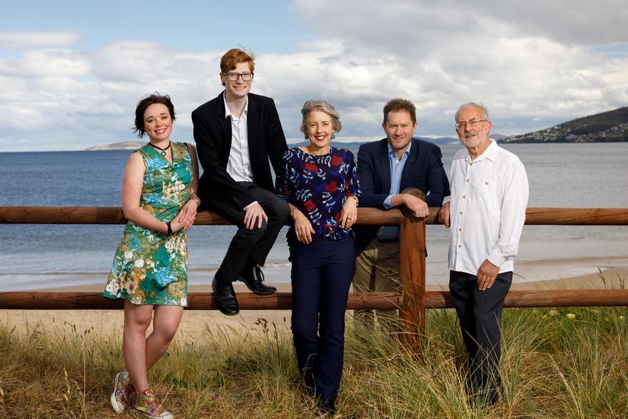 Tasmanian Greens Candidates for Franklin 2018, Holly Ewin, Lachlan Hatfield, Rosalie Woodruff, Richard Atkinson and Ross Lincolne.